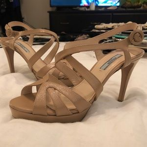 Prada Patent Leather Strappy Sandals Heels 8.5